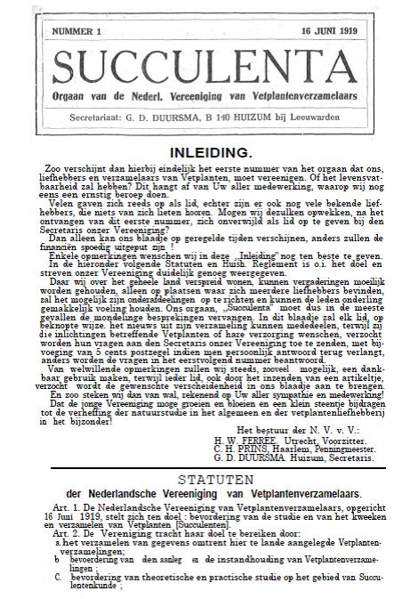 Tijdschrift 'Succulenta' 1919 – 1943 Nu Ook Digitaal Beschikbaar