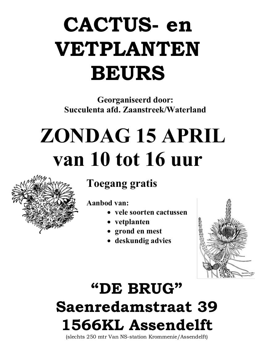 Zondag 15 April: Cactus- En Vetplantenbeurs Afd. Zaanstreek-Waterland