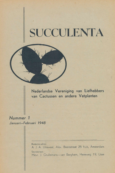 Aanvulling Oude Jaargangen Van 'Succulenta' Digitaal